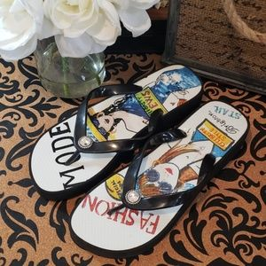 BRIGHTON FASHION WEDGE FLIP FLOPS